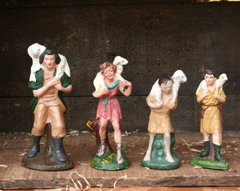 Vintage Nativity pieces, shepherd with a lamb, paper mache creche figures, Germany, Italy