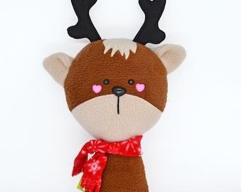 Deer plushie soft toy doll kawaii plush animal stuffed Christmas reindeer Santa Claus North Pole  handmade uk plusheez