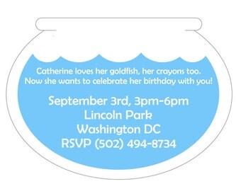 ELMO Goldfish Party Invitation, Sesame Street Invitation, Goldfish Invitation, Dory Party
