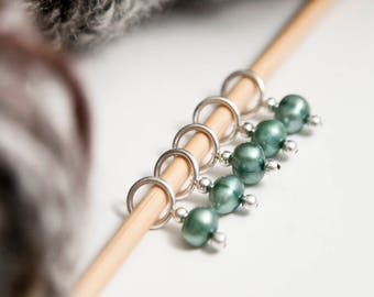 Snag Free Stitch Markers in Sage Green, Set of 5, Genuine Freshwater Pearls, Snagless, Earthy