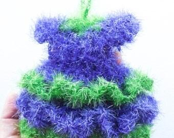 Kitchen Scrubbie Gown - Crochet Scrubby Dress - Eco Friendly Bath Pouf - Hanging Dish Scrubbie