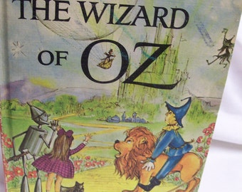 Wizard of Oz Jungle Book 2 Books in One Hard Cover Vintage Circa 1960s