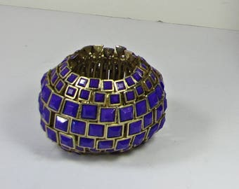 Vintage PURPLE & BRASS BRACELET Heavy Plastic Bead + Metal Link Stretch Jewelry
