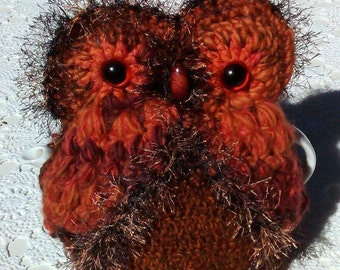 Tea cozy Owl  Cosy Hand crocheted in fanciful Orange & Brown yarn 4 - 5 cups