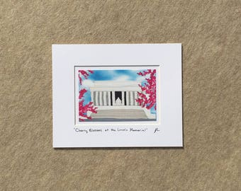 "Small print ""Cherry Blossoms at the Lincoln Memorial"" YOUR CHOICE of mat color, fits 8x10 inch frame, high quality reproduction print"