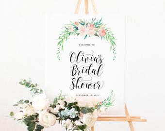 Delicate Bouquet Bridal Shower Large Welcome Easel Display Sign - Pink Floral Garden Theme Wedding, Bridal Shower, Baby Shower, Bachelorette