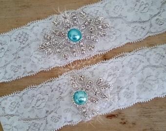 New Years Sale 17% OFF Aqua Wedding Garter/ White Lace Garter /  Bridal Garter / Wedding Garter Set  / Stretch Lace Garter / Wedding Gart...