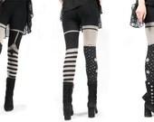 Last pairs- Womens bleach printed Legging,  pirate girl,  print stripes polka dots, yoga leggings, preorder