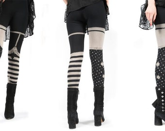 Last pairs- Womens bleach printed Legging,  pirate girl,  print stripes polka dots, yoga leggings, preorder