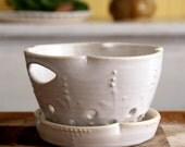 Berry Bowl Colander and Drainer Tray - Creamy White - Handmade Ceramic Modern Home Decor - READY TO SHIP
