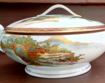 "GORGEOUS Vintage Koshida China, 9"" Round Covered Serving/Vegetable Dish with Handles, Gold Trim, China, Satsuma Ware"