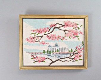 Vintage Needlepoint Jefferson Memorial Washington DC Cherry Blossom Festival Vintage Embroidery Kit Wall Art Framed Embroidery Tapestry