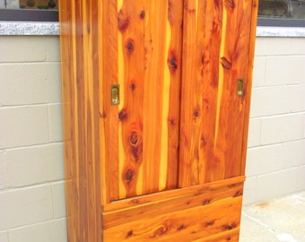 Genuine Solid CEDAR Armoire Wardrobe Closet with Double SLIDING Doors Full Length - 1940's - Clothes Storage Armoire