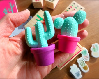 Mint Green Saguaro Cactus Erasers-Set of 2 Potted Cacti-Purple, Pink Mini Hipster School Erasers-Boho Planner Supplies-Prickly Potted Plants