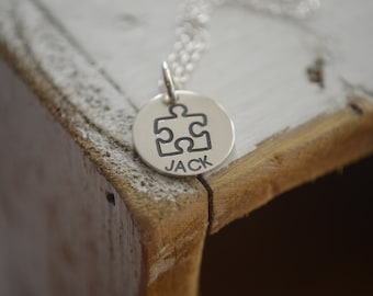 Puzzle Piece Necklace - Engraved Name or Initials