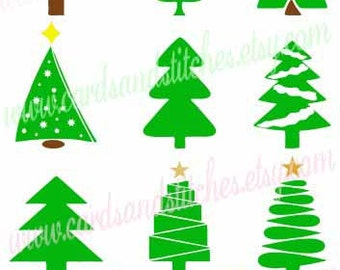 Christmas Trees SVG - Christmas SVG - Fancy Trees SVG - Digital Cut File - Silhouette Cut - Instant Download - Svg, Dxf, Jpg, Eps, Png