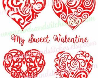 Valentine SVG - Hearts SVG - Fancy Hearts SVG - Digital Cutting File - Cricut Cut File - Instant Download - Svg, Dxf, Jpg, Eps, Png