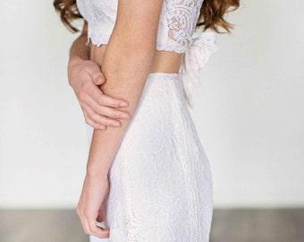 Joni Sleevless Wedding Dress/ STUNNING Bohemian Lace Wedding Dress //Crop Top Tie Back //Scalloped Hems// Ultimate Boho Bride