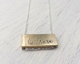 Gold Bar Raw Brass Personalized Custom Initial Name Text Be Brave Inspirational Rustic Sterling Silver Necklace