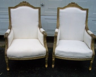 pair vintage chairs,french bergere style chairs,luis xv style,shabby chic fauteuils,cottage chic, gilted chairs,classic chairs,simple lines