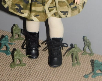 "Black lace up Boots  for Wellie Wisher dolls .   Also American Girl 18 "" size...  BOOTS ONLY in this listing."