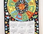 1971 Linen Zodiac Kitchen Towel Calendar