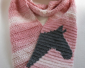 Horse Infinity Scarf.  Pink striped, crochet scarf with grey horse head silhouette. Long, cowl scarf.