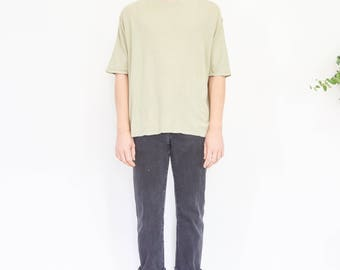 90s Pale Green Ribbed Grunge Tee / Oversize T-shirt