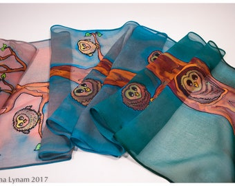 "Owl Silk Scarf. 11""x59"". Mother's Day gift. Hand painted silk scarf. Painted silk scarf. Owl scarf. Hand-painted silk scarf~Silk painting"