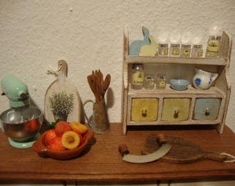 miniature, for  dollhouse,  shelf,  with drawer,   for spices,