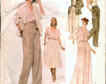 Super Vintage 1970s Vogue American Designer 1883 Anne Klein Jacket, Blouse, Mid or Maxi Skirt and Wide Leg Pants Sewing Pattern B34 W26.5