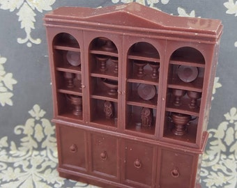 Marx Soft Plastic French Provencal China Cabinet Hutch Dining Room Toy Dollhouse