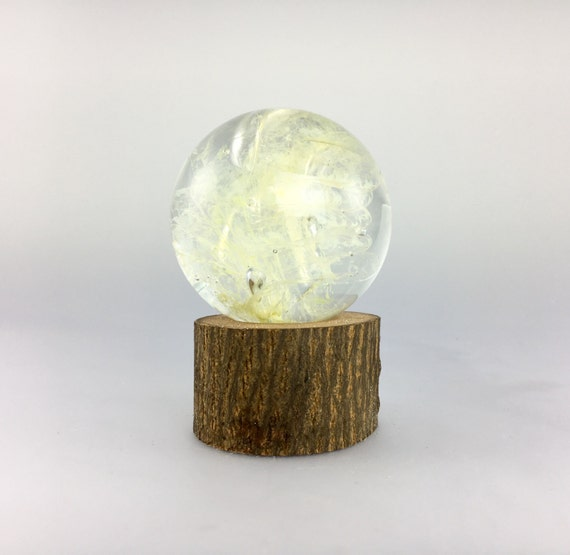 Large Glass Marble and Wood Stand by Jonathan Winfisky - Paperweight
