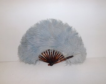 Vintage light blue real ostrich marabou feather fan and faux tortoiseshell celluloid