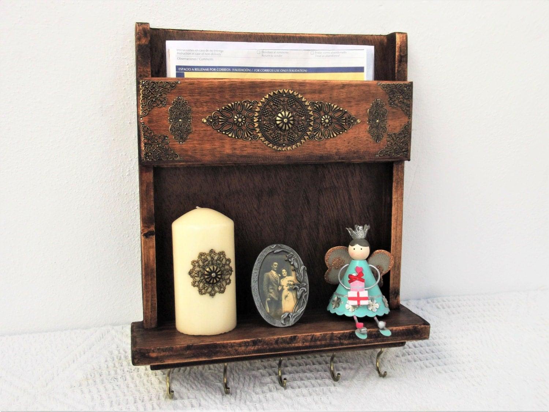 Mail holder shelf and key rack wood wall mounted mail box - Wall mounted mail organizer and key rack ...