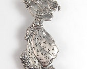 Reserved!! Vintage Sterling Silver Little Girl Brooch Pin Prairie Dress Flowers Young Child