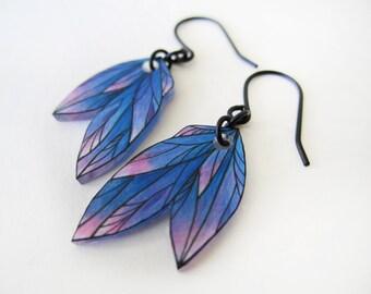 BLUE PINK FEATHER dangle earrings // drop earrings, jewelry, colorful jewellery