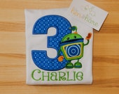 Team Umizoomi Bot Robot birthday shirt or onesie any year age or name personalized custom made embroidered monogrammed applique boy girl