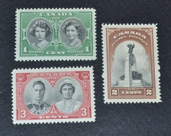 Canadian stamps 1939 3 MNH stamps Royal visit