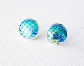 Fish Scale Mermaid Stud Earrings