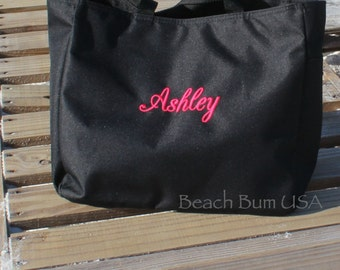Personalized Tote Bag, Large Beach Bag Zipper Closure, Neon Totes, Easter Gift Under 20 Dollars