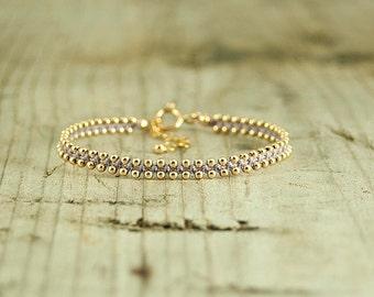 Friendship bracelet Lavender and Gold,dainty bracelet,handmade bracelets,stack bracelets,trendy jewelry,bracelet for her,thin bracelet
