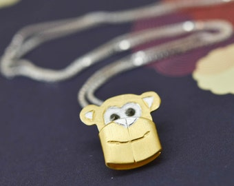 Monkey Pendant, Monkey Necklace, Monkey Jewelry, Monkey Charm, 925 Sterling Silver, Bridesmaid Gift, Best Friend Gift, Gift for her