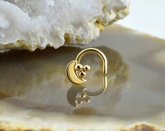 14K Solid White Gold or Yellow Gold Nose Ring, Screw, L Bend, Stud or Bone. Crescent Moon Cluster. Choose Your Gauge 22G 20G 18G & Style.