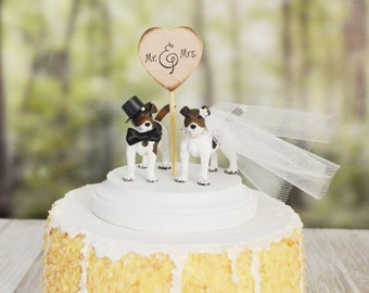 Dog wedding cake topper Jack Russel terrier dog cake topper dog lover bride and groom animal pet wedding sign Mr&Mrs terrier cake