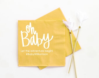 Gender Neutral Baby Shower Napkins Personalized Paper Napkins Neutral Baby Shower Ideas Gender Reveal Party Supplies Custom Printed Napkins