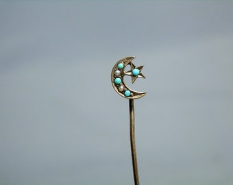 Antique Victorian 10K Gold Seed Pearl Persian Turquoise Crescent Moon and Star Stick Pin DanPickedMinerals