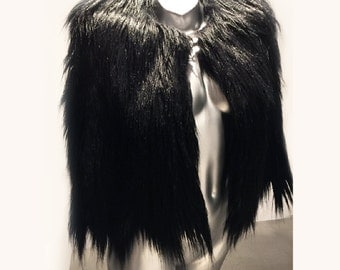 Sultry Fade To Black - Mongolian  Faux fur Cape - Plush lined