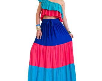 Maxi skirt/ Boho skirt/ Long tiered skirt/ Maxi dress/ Boho dress/ Plus size dress/ Plus size floor length skirt/ Bohemian skirt CANDY