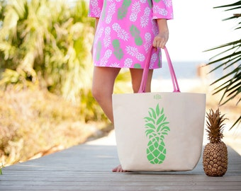 Monogrammed Pineapple Canvas Tote - Beach Tote Bag - Monogrammed beach tote - Beach Bag - Pool bag - Oversized tote bag